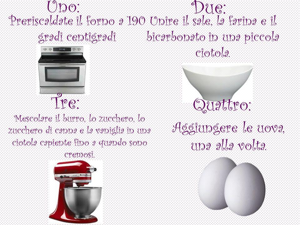 Uno: Preriscaldate il forno a 190 gradi centigradi Due: Unire il sale, la farina e il bicarbonato in una piccola ciotola.