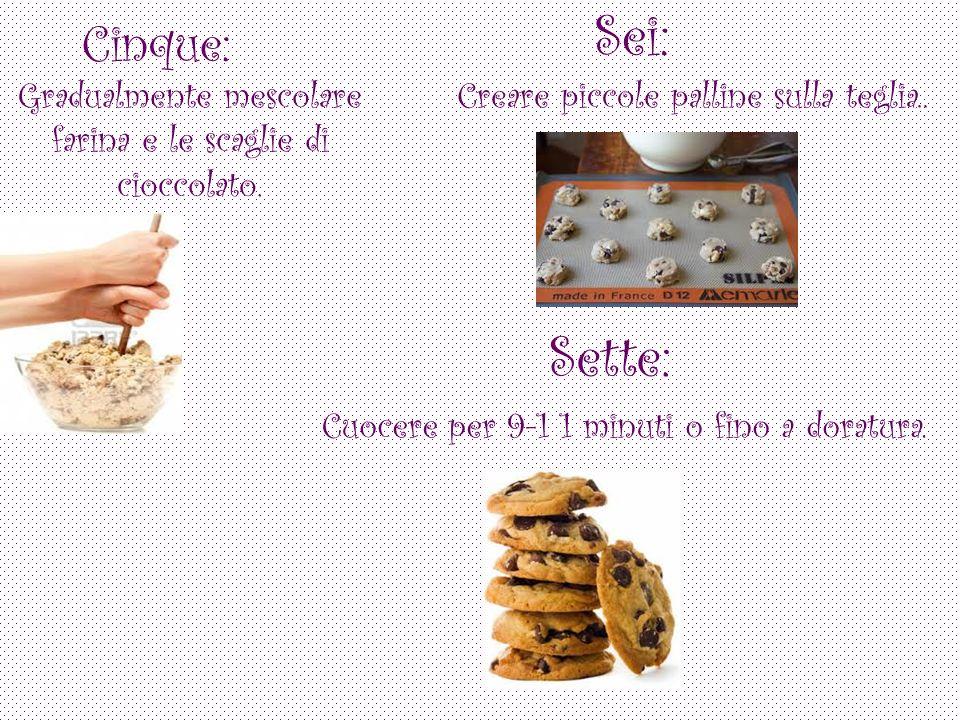 Cinque: Gradualmente mescolare farina e le scaglie di cioccolato.