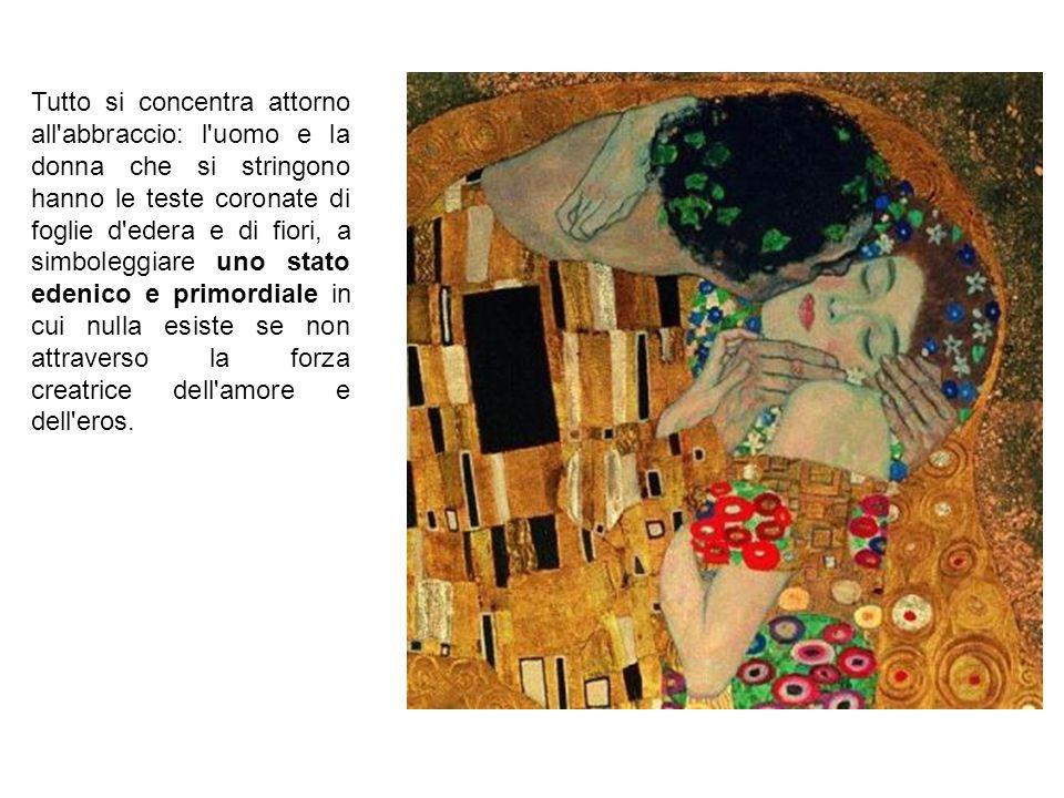 Tutto si concentra attorno all'abbraccio: l'uomo e la donna che si stringono hanno le teste coronate di foglie d'edera e di fiori, a simboleggiare uno