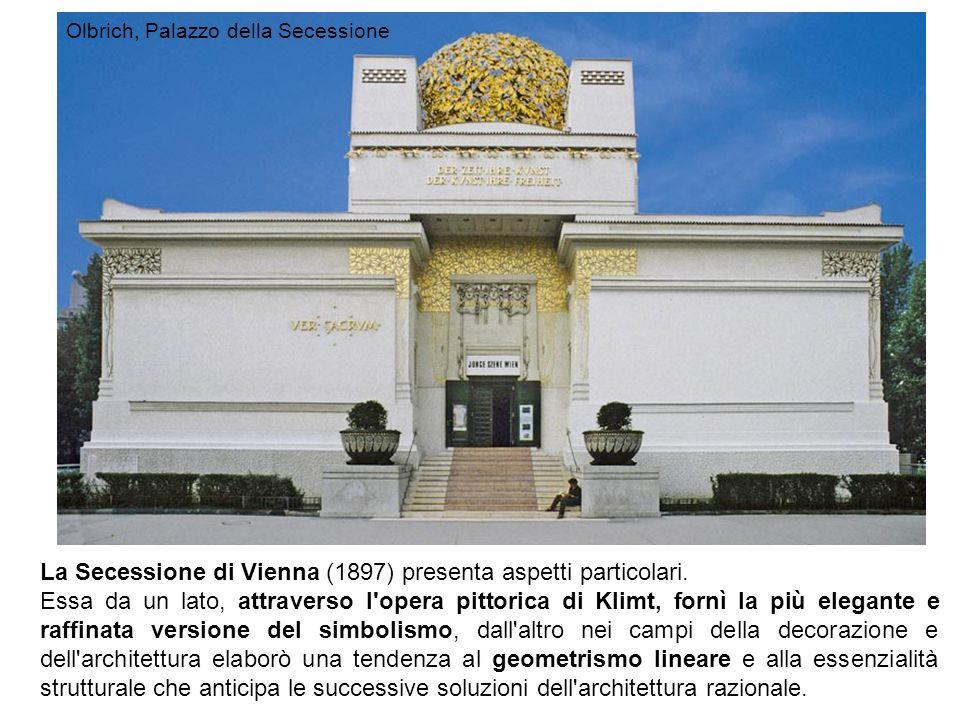 La Secessione di Vienna (1897) presenta aspetti particolari. Essa da un lato, attraverso l'opera pittorica di Klimt, fornì la più elegante e raffinata
