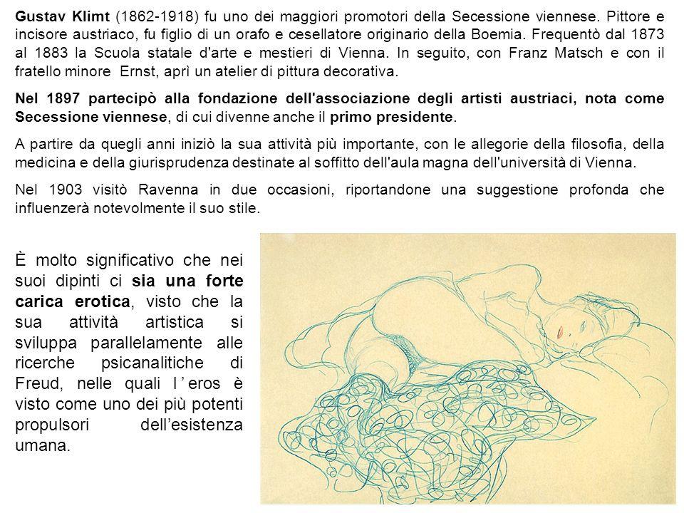 Gustav Klimt (1862-1918) fu uno dei maggiori promotori della Secessione viennese. Pittore e incisore austriaco, fu figlio di un orafo e cesellatore or