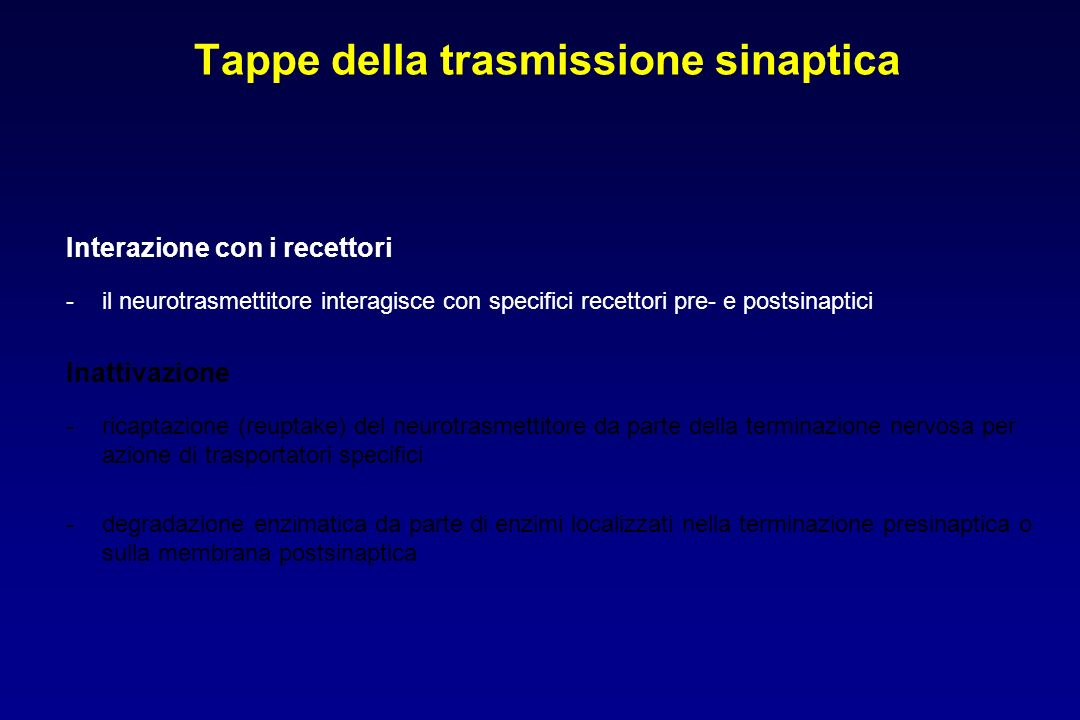 Tappe della trasmissione sinaptica Interazione con i recettori -il neurotrasmettitore interagisce con specifici recettori pre- e postsinaptici Inattiv