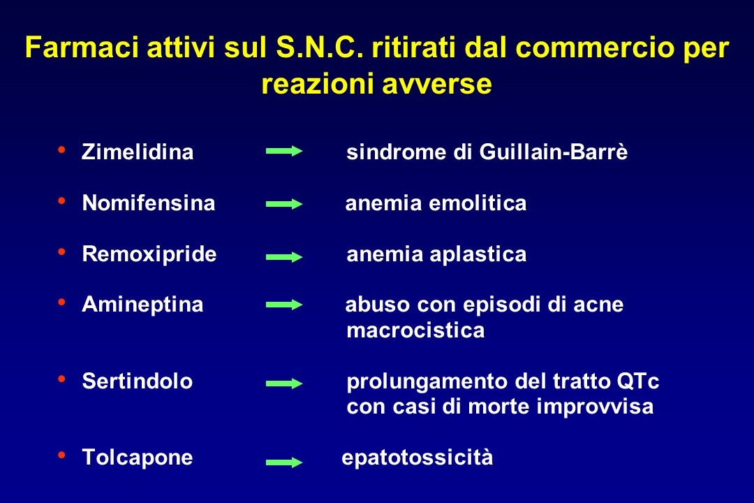 Zimelidina sindrome di Guillain-Barrè Nomifensina anemia emolitica Remoxipride anemia aplastica Amineptina abuso con episodi di acne macrocistica Sert