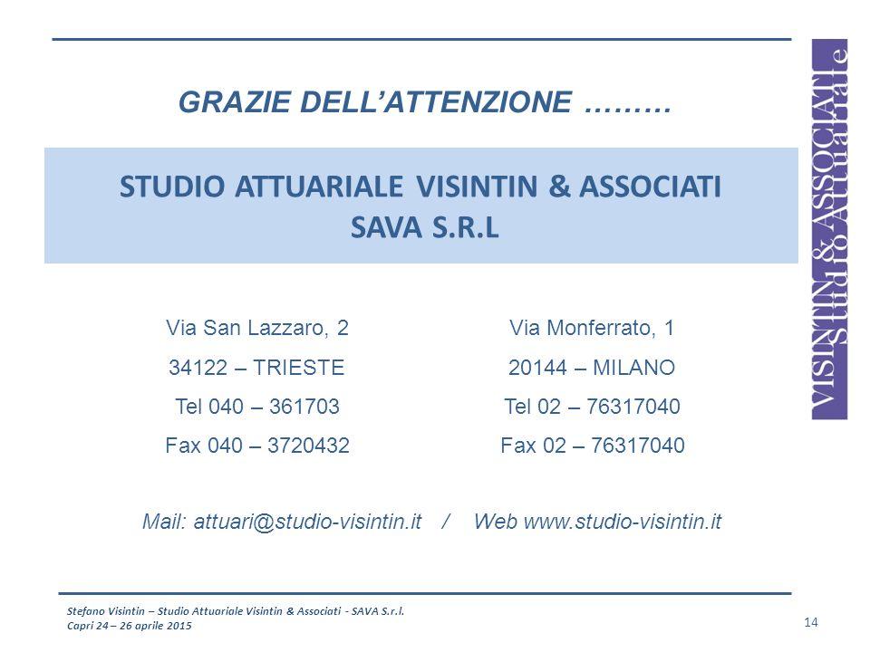 Stefano Visintin – Studio Attuariale Visintin & Associati - SAVA S.r.l. Capri 24 – 26 aprile 2015 14 STUDIO ATTUARIALE VISINTIN & ASSOCIATI SAVA S.R.L