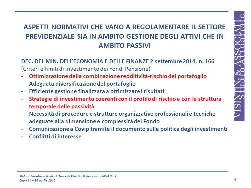 Stefano Visintin – Studio Attuariale Visintin & Associati - SAVA S.r.l. Capri 24 – 26 aprile 2015 4 ASPETTI NORMATIVI CHE VANO A REGOLAMENTARE IL SETT