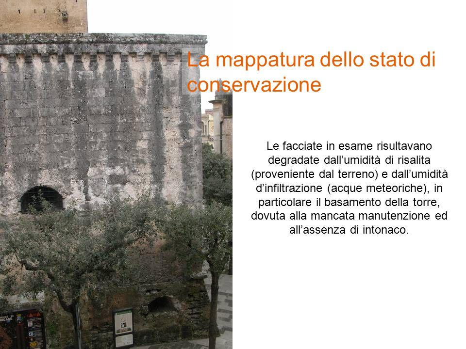 Le facciate in esame risultavano degradate dall'umidità di risalita (proveniente dal terreno) e dall'umidità d'infiltrazione (acque meteoriche), in particolare il basamento della torre, dovuta alla mancata manutenzione ed all'assenza di intonaco.