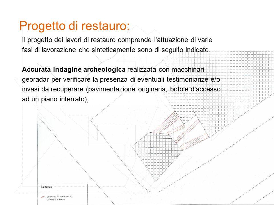 Progetto di restauro: Il progetto dei lavori di restauro comprende l'attuazione di varie fasi di lavorazione che sinteticamente sono di seguito indicate.