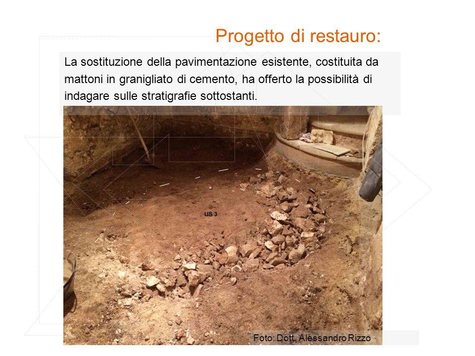 Progetto di restauro: La sostituzione della pavimentazione esistente, costituita da mattoni in granigliato di cemento, ha offerto la possibilità di indagare sulle stratigrafie sottostanti.