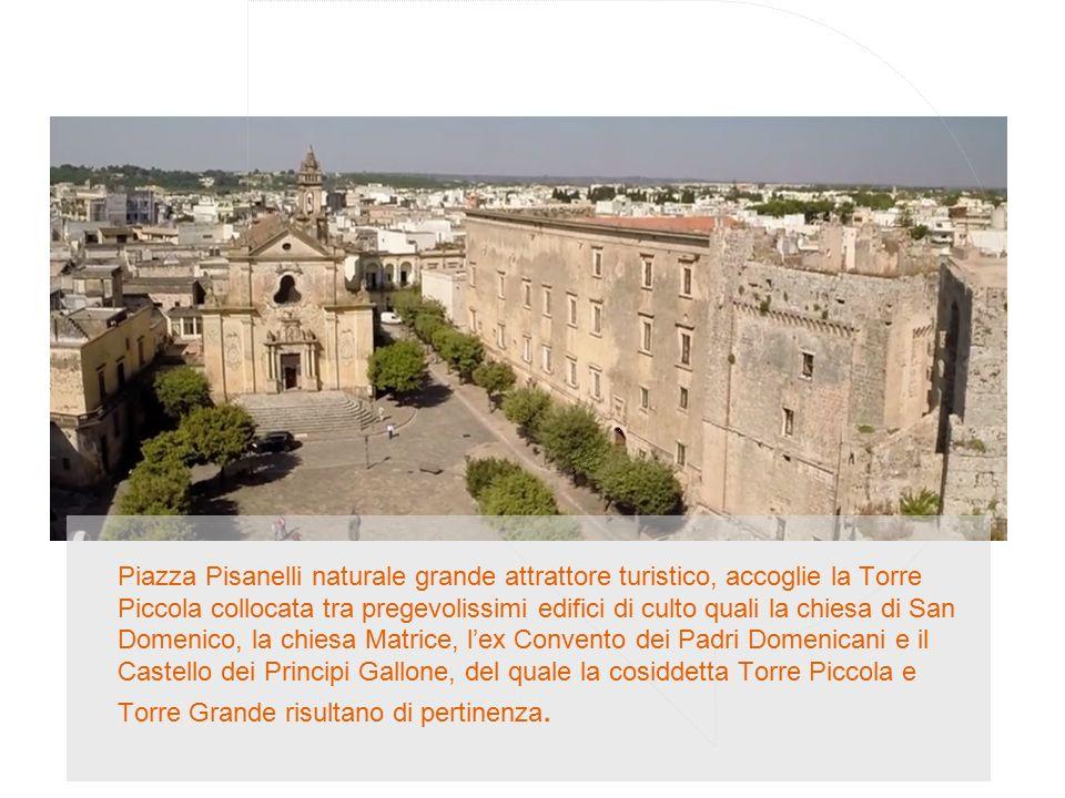Piazza Pisanelli naturale grande attrattore turistico, accoglie la Torre Piccola collocata tra pregevolissimi edifici di culto quali la chiesa di San