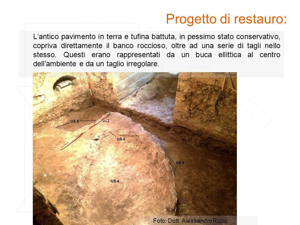 Progetto di restauro: Foto: Dott. Alessandro Rizzo L'antico pavimento in terra e tufina battuta, in pessimo stato conservativo, copriva direttamente i
