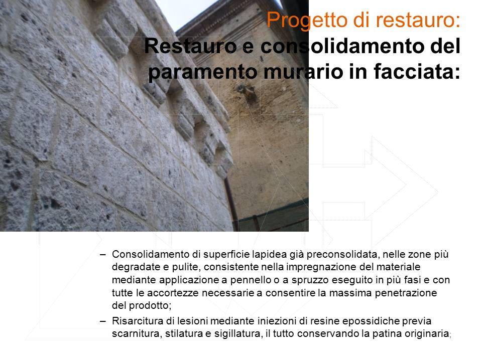Progetto di restauro: Restauro e consolidamento del paramento murario in facciata: –Consolidamento di superficie lapidea già preconsolidata, nelle zon