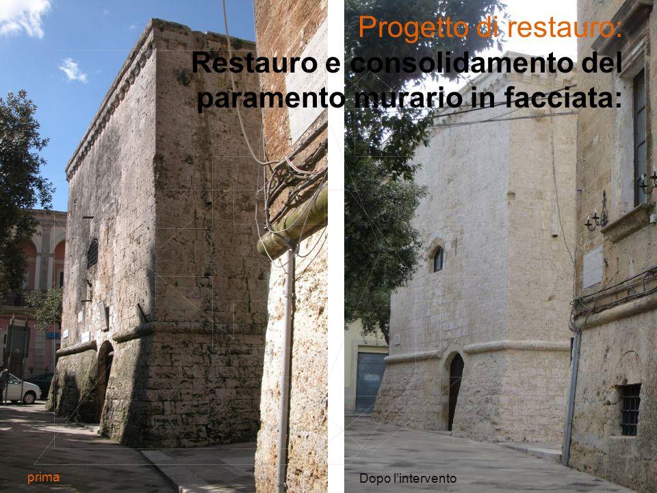 Progetto di restauro: Restauro e consolidamento del paramento murario in facciata: prima Dopo l'intervento