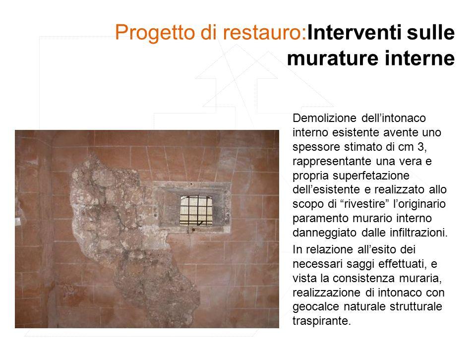 Progetto di restauro:Interventi sulle murature interne Demolizione dell'intonaco interno esistente avente uno spessore stimato di cm 3, rappresentante