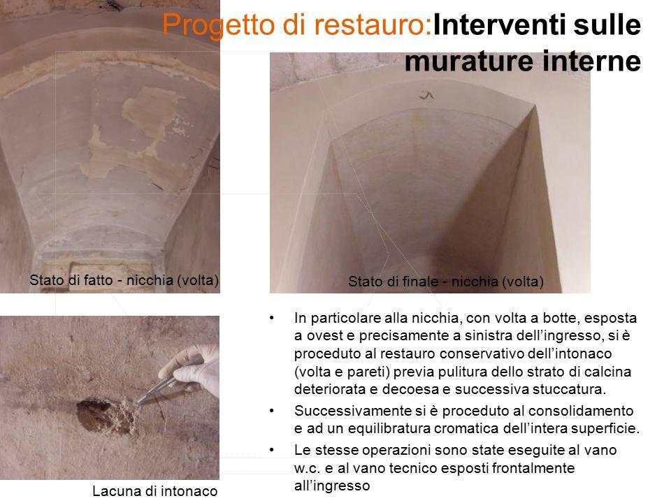 Progetto di restauro:Interventi sulle murature interne In particolare alla nicchia, con volta a botte, esposta a ovest e precisamente a sinistra dell'