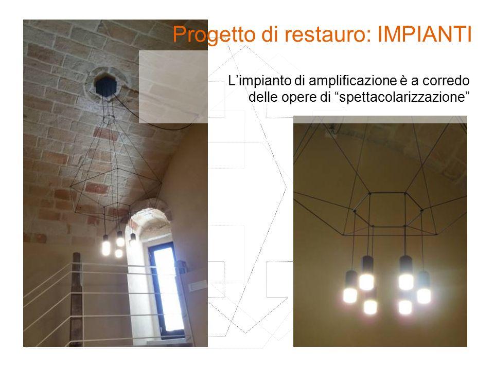 """L'impianto di amplificazione è a corredo delle opere di """"spettacolarizzazione"""" Progetto di restauro: IMPIANTI"""