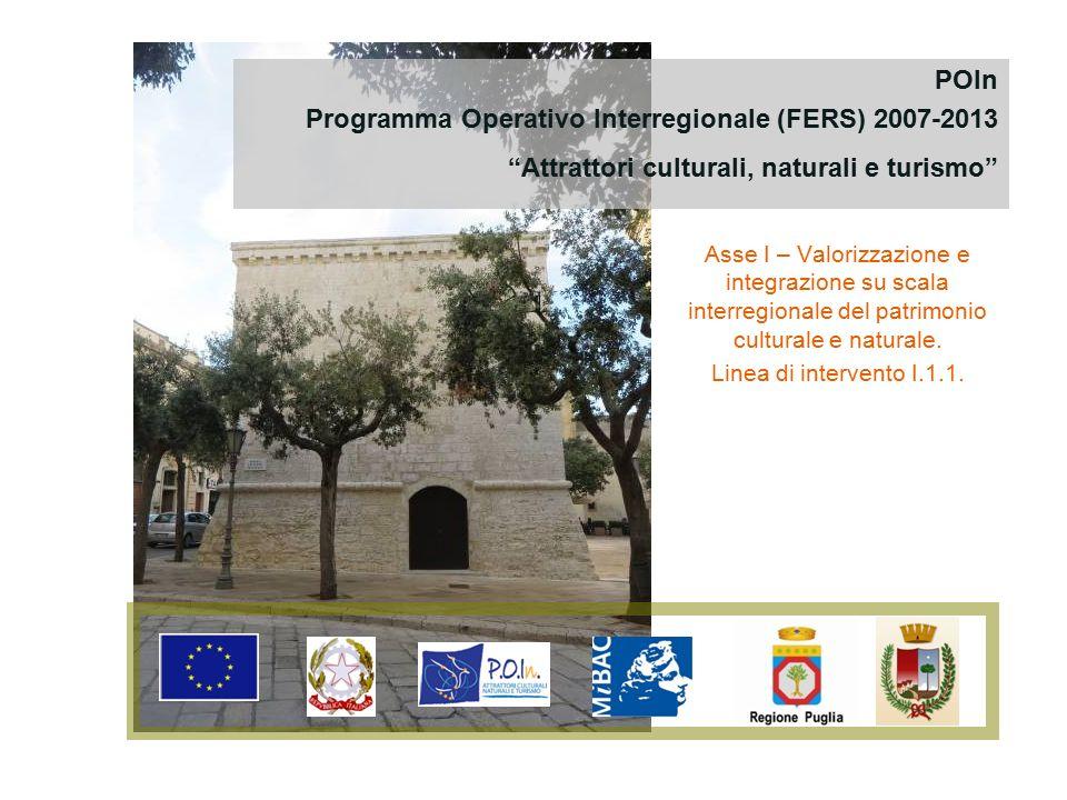 Asse I – Valorizzazione e integrazione su scala interregionale del patrimonio culturale e naturale. Linea di intervento I.1.1. POIn Programma Operativ