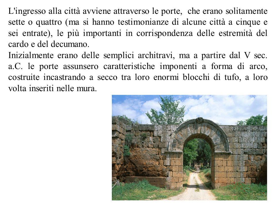 L'ingresso alla città avviene attraverso le porte, che erano solitamente sette o quattro (ma si hanno testimonianze di alcune città a cinque e sei ent