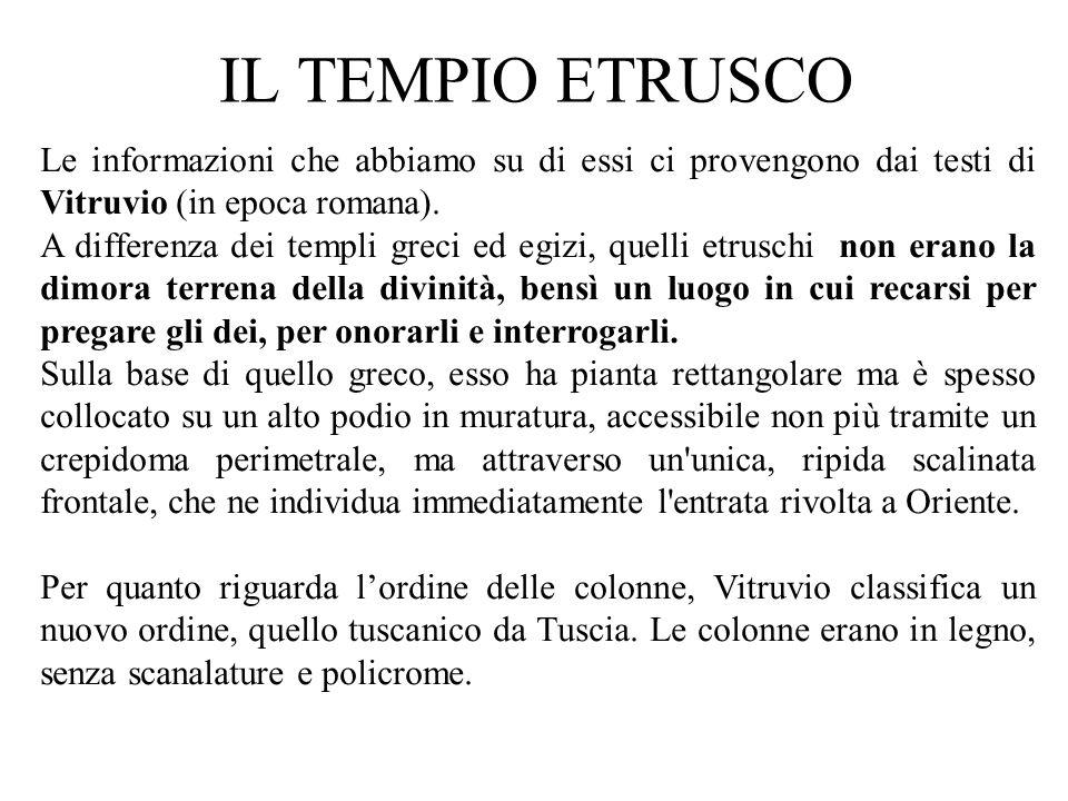 Le informazioni che abbiamo su di essi ci provengono dai testi di Vitruvio (in epoca romana). A differenza dei templi greci ed egizi, quelli etruschi