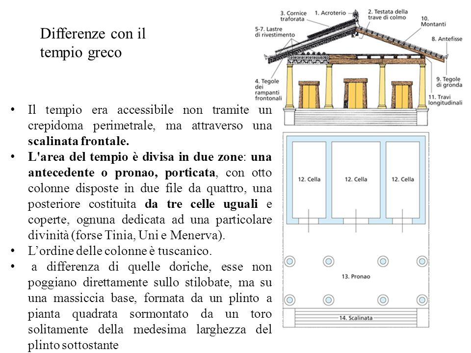 Il tempio era accessibile non tramite un crepidoma perimetrale, ma attraverso una scalinata frontale. L'area del tempio è divisa in due zone: una ante
