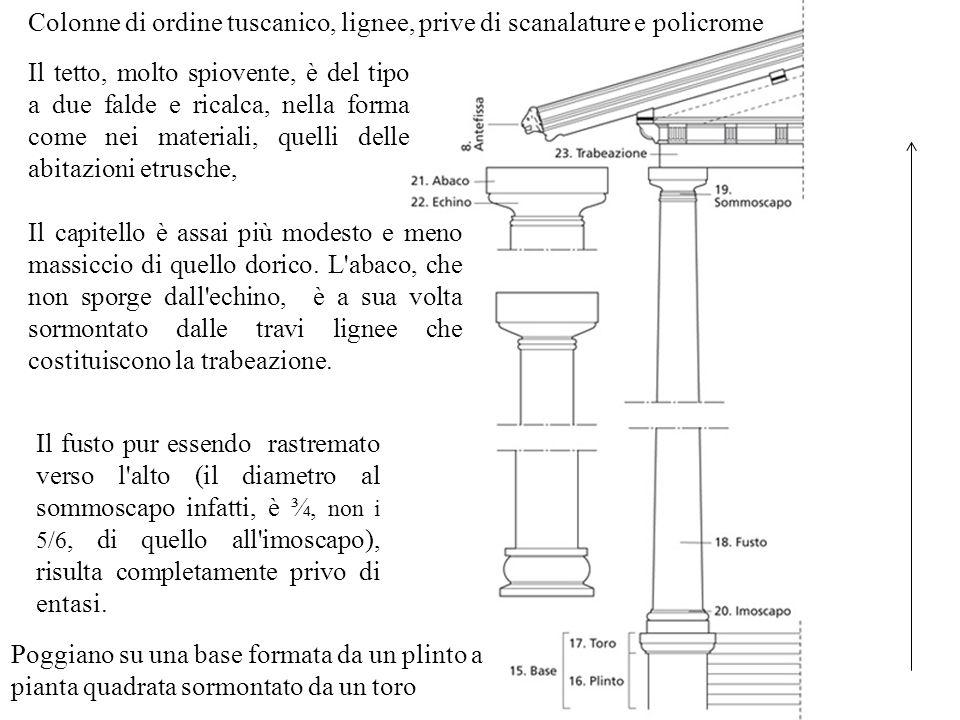 Colonne di ordine tuscanico, lignee, prive di scanalature e policrome Poggiano su una base formata da un plinto a pianta quadrata sormontato da un tor