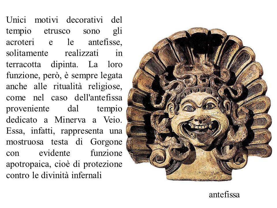 antefissa Unici motivi decorativi del tempio etrusco sono gli acroteri e le antefisse, solitamente realizzati in terracotta dipinta. La loro funzione,
