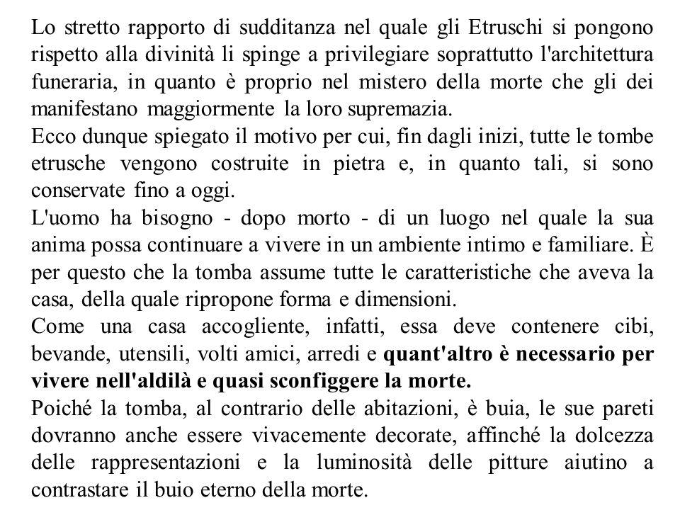 Lo stretto rapporto di sudditanza nel quale gli Etruschi si pongono rispetto alla divinità li spinge a privilegiare soprattutto l'architettura funerar