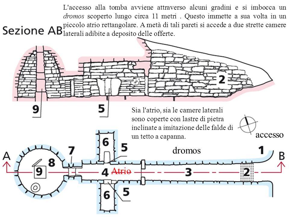 accesso dromos Atrio L'accesso alla tomba avviene attraverso alcuni gradini e si imbocca un dromos scoperto lungo circa 11 metri. Questo immette a sua