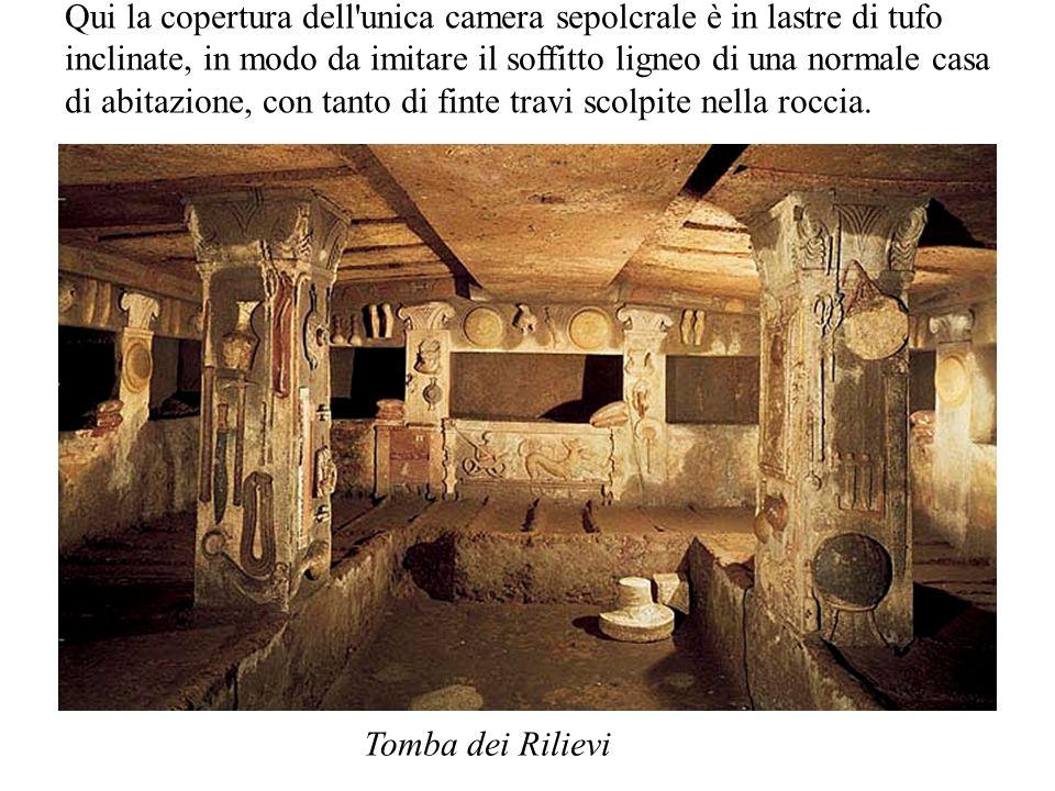 Tomba dei Rilievi Qui la copertura dell'unica camera sepolcrale è in lastre di tufo inclinate, in modo da imitare il soffitto ligneo di una normale ca