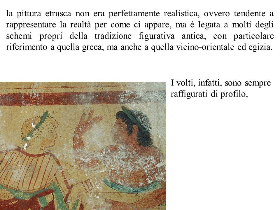 la pittura etrusca non era perfettamente realistica, ovvero tendente a rappresentare la realtà per come ci appare, ma è legata a molti degli schemi pr