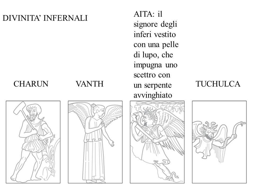 E a simboleggiare la morte sono specialmente due figure infernali: la dea Vanth, la dea alata della morte dalle grandi ali e con la torcia, che, simile alla greca Moira, rappresenta il fato implacabile e assiste impassibile all'agonia dei morenti