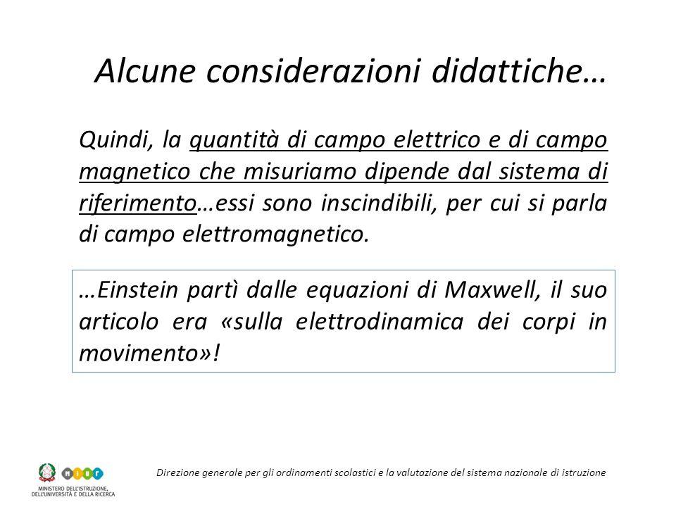 Direzione generale per gli ordinamenti scolastici e la valutazione del sistema nazionale di istruzione Alcune considerazioni didattiche… …Einstein partì dalle equazioni di Maxwell, il suo articolo era «sulla elettrodinamica dei corpi in movimento».