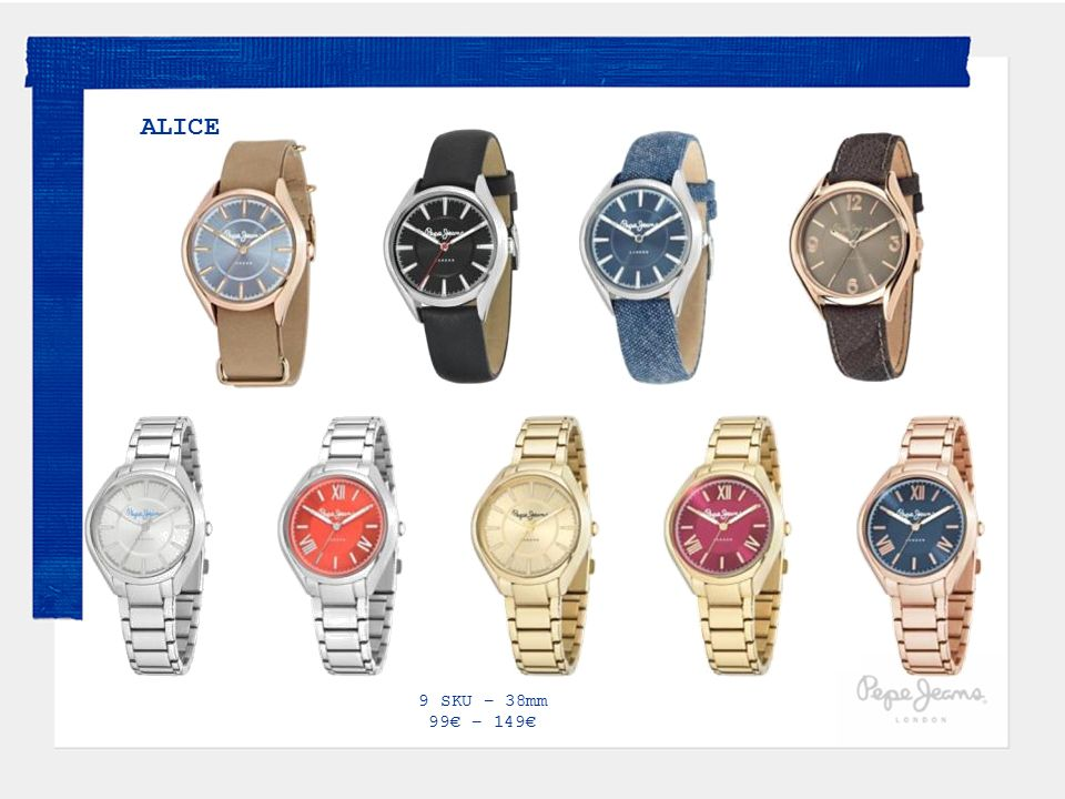 ALICE 9 SKU – 38mm 99€ – 149€