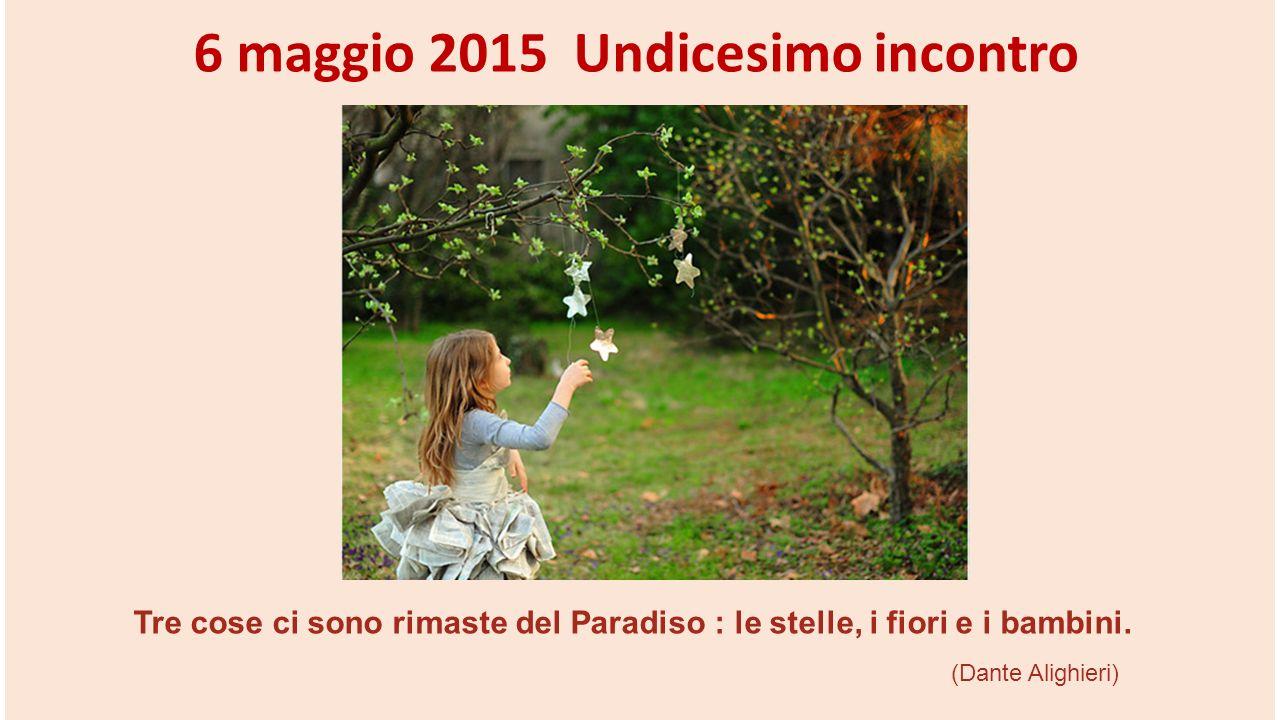 Tre cose ci sono rimaste del Paradiso : le stelle, i fiori e i bambini. (Dante Alighieri) 6 maggio 2015 Undicesimo incontro