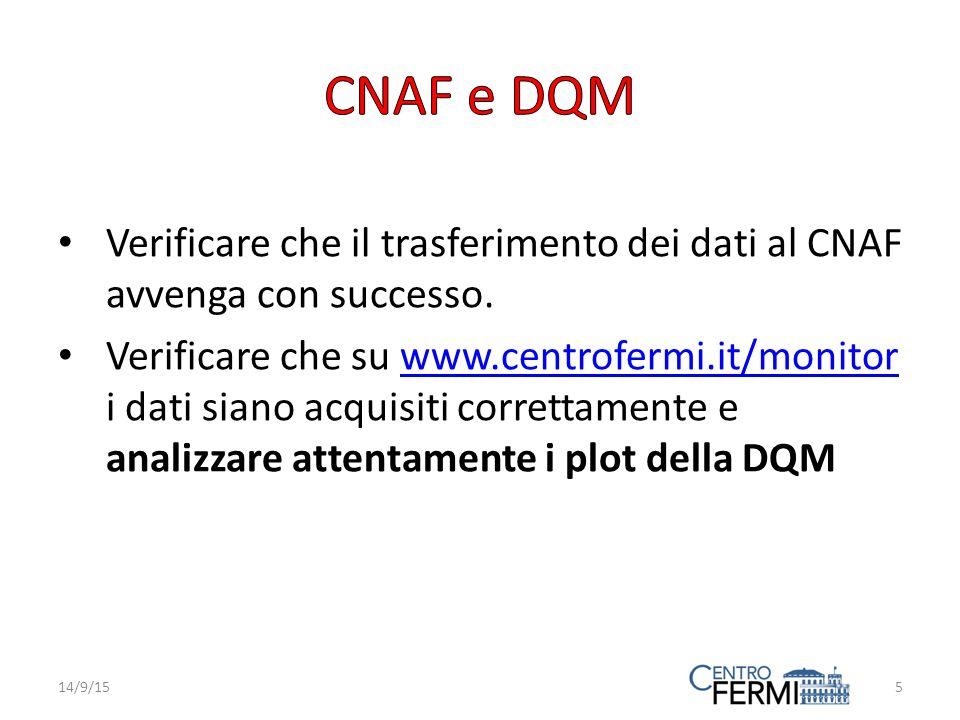 Verificare che il trasferimento dei dati al CNAF avvenga con successo.