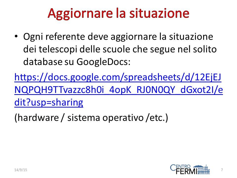 Ogni referente deve aggiornare la situazione dei telescopi delle scuole che segue nel solito database su GoogleDocs: https://docs.google.com/spreadsheets/d/12EjEJ NQPQH9TTvazzc8h0i_4opK_RJ0N0QY_dGxot2I/e dit usp=sharing (hardware / sistema operativo /etc.) 14/9/157