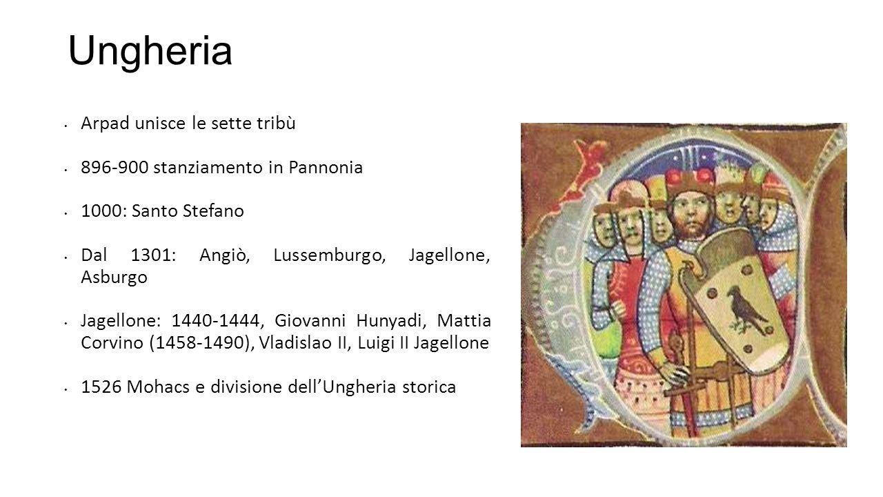 Ungheria Arpad unisce le sette tribù 896-900 stanziamento in Pannonia 1000: Santo Stefano Dal 1301: Angiò, Lussemburgo, Jagellone, Asburgo Jagellone:
