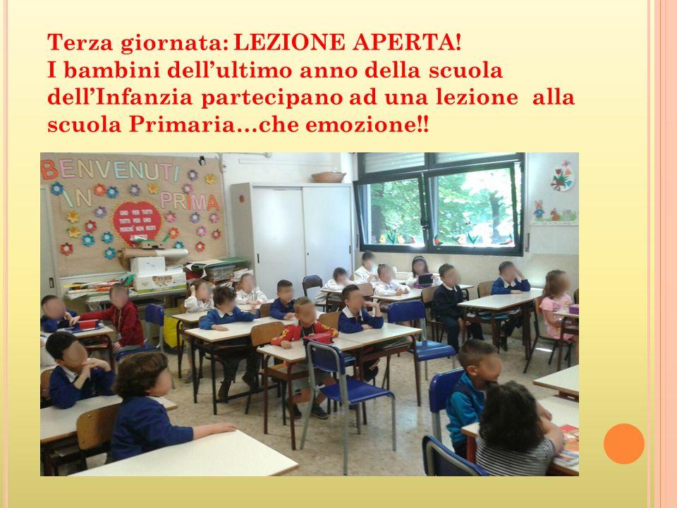 Terza giornata: LEZIONE APERTA! I bambini dell'ultimo anno della scuola dell'Infanzia partecipano ad una lezione alla scuola Primaria…che emozione!!