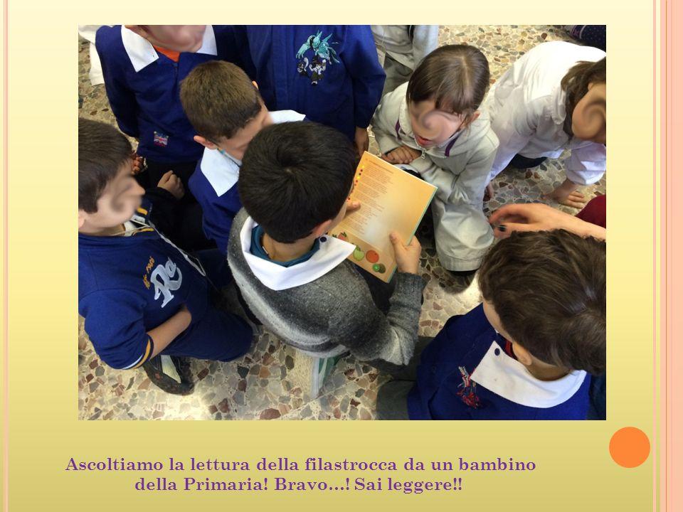 Ascoltiamo la lettura della filastrocca da un bambino della Primaria! Bravo…! Sai leggere!!