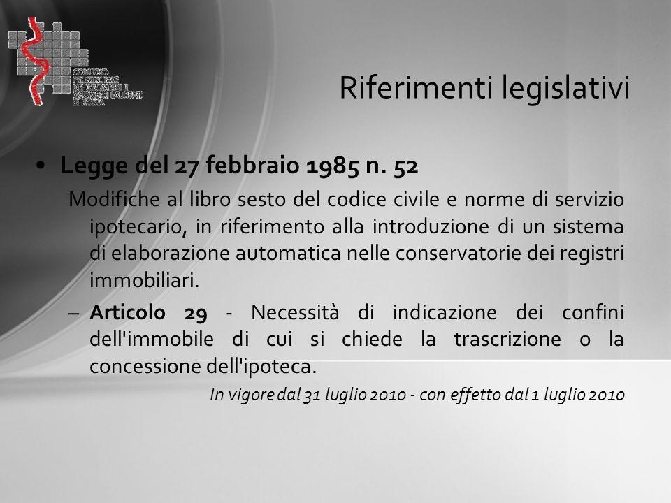 Riferimenti legislativi Legge del 27 febbraio 1985 n. 52 Modifiche al libro sesto del codice civile e norme di servizio ipotecario, in riferimento all