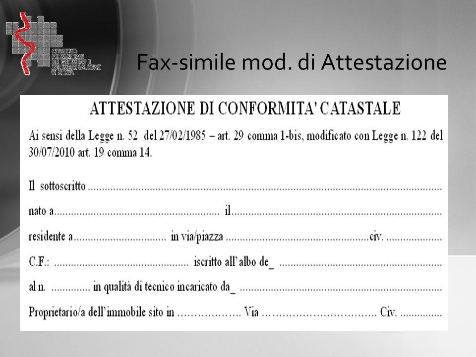 Fax-simile mod. di Attestazione