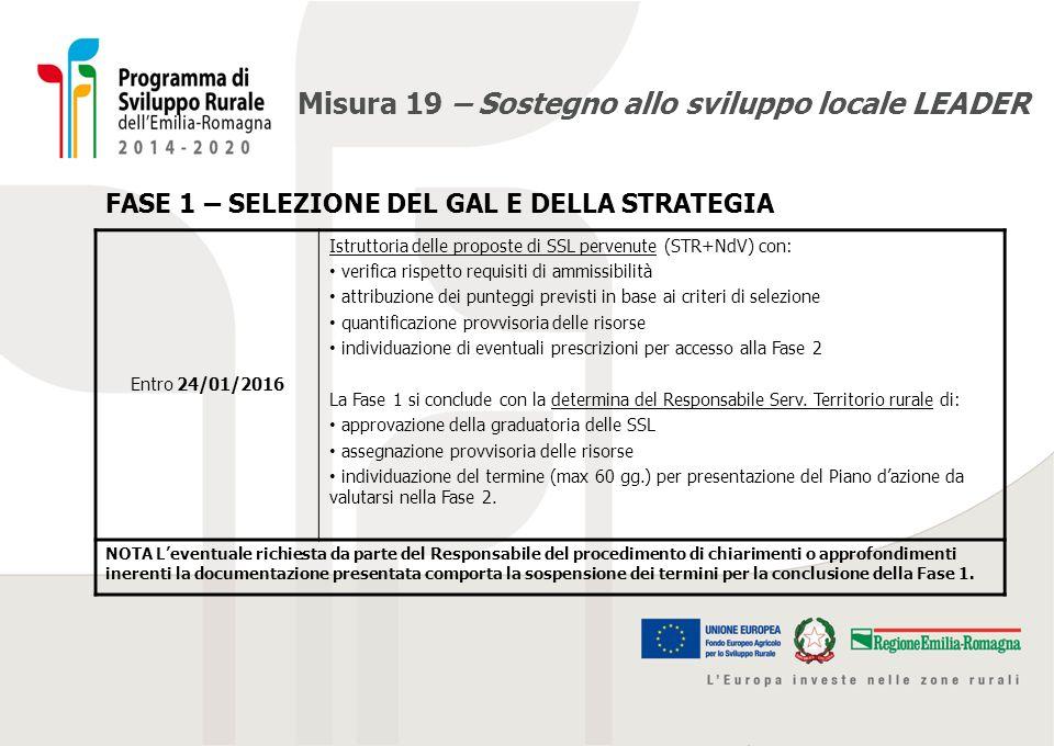 Misura 19 – Sostegno allo sviluppo locale LEADER FASE 1 – SELEZIONE DEL GAL E DELLA STRATEGIA Entro 24/01/2016 Istruttoria delle proposte di SSL perve