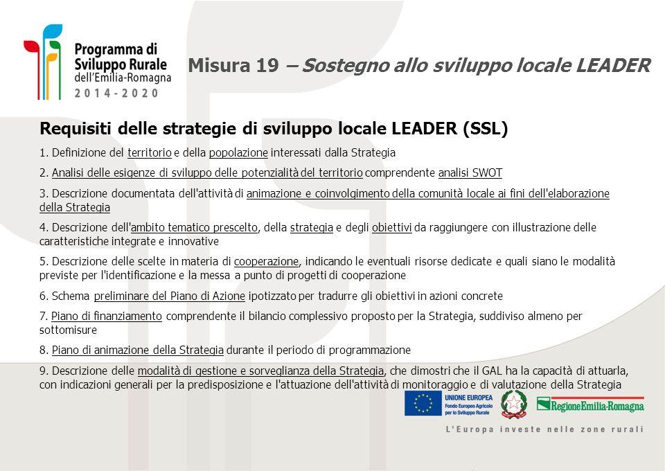 Misura 19 – Sostegno allo sviluppo locale LEADER Requisiti delle strategie di sviluppo locale LEADER (SSL) 1. Definizione del territorio e della popol