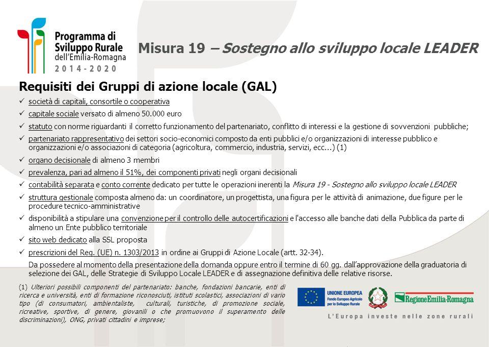 Misura 19 – Sostegno allo sviluppo locale LEADER Requisiti dei Gruppi di azione locale (GAL) società di capitali, consortile o cooperativa capitale so