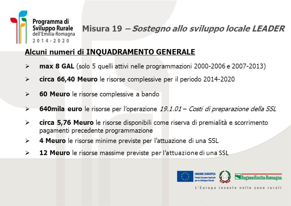 Misura 19 – Sostegno allo sviluppo locale LEADER OPERAZIONE 19.1.01 - Costi di preparazione della strategia di sviluppo locale Il finanziamento dei costi di preparazione della strategia di sviluppo locale LEADER prevede, anche nell eventualità di mancato superamento della FASE 1 - Selezione del GAL e della Strategia:  aiuto max concedibile di 80mila euro  100% di copertura delle spese ammissibili  periodo per sostenere le spese: dal 22/07/2014 al giorno di presentazione della SSL al Serv.