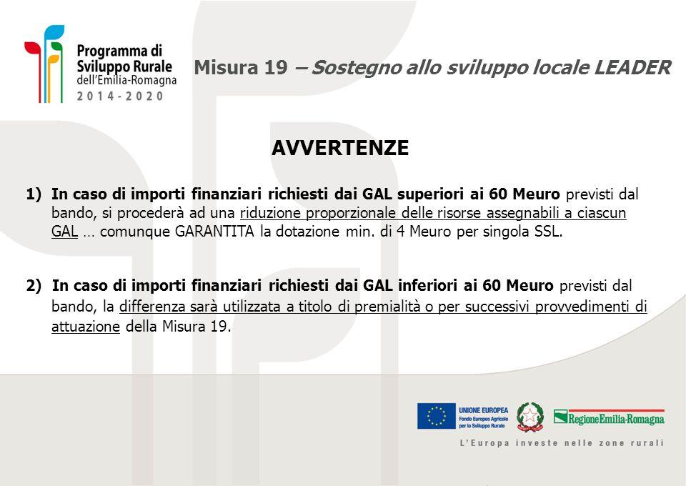 Misura 19 – Sostegno allo sviluppo locale LEADER AVVERTENZE 1)In caso di importi finanziari richiesti dai GAL superiori ai 60 Meuro previsti dal bando