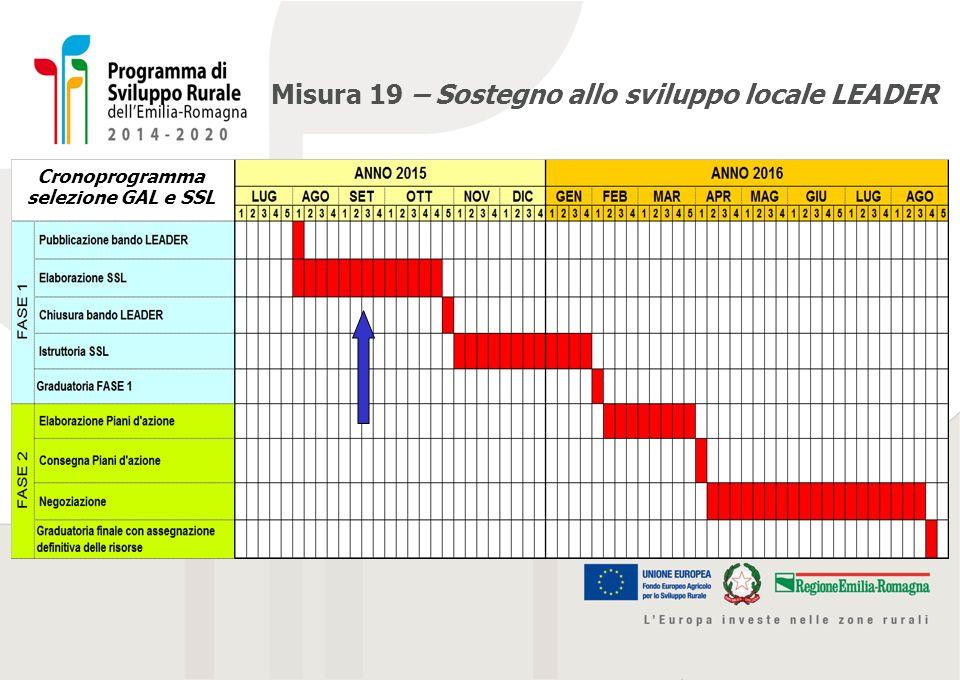 Misura 19 – Sostegno allo sviluppo locale LEADER Cronoprogramma selezione GAL e SSL