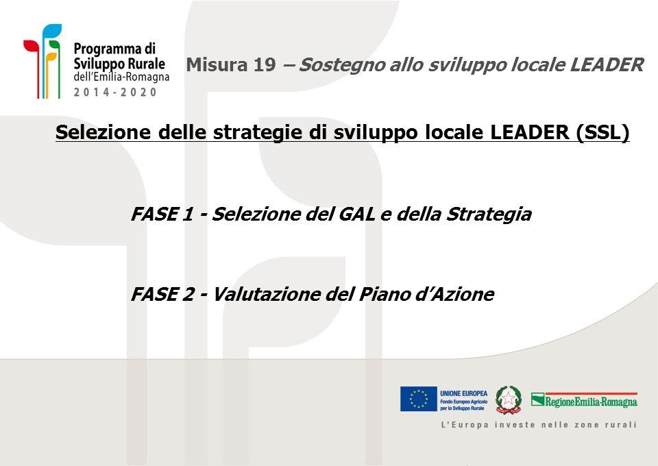 Misura 19 – Sostegno allo sviluppo locale LEADER Descrizione accessibile della slide precedente FASE 1 – SELEZIONE DEL GAL E DELLA STRATEGIA Entro 24/01/2016 si dovranno completare: A.