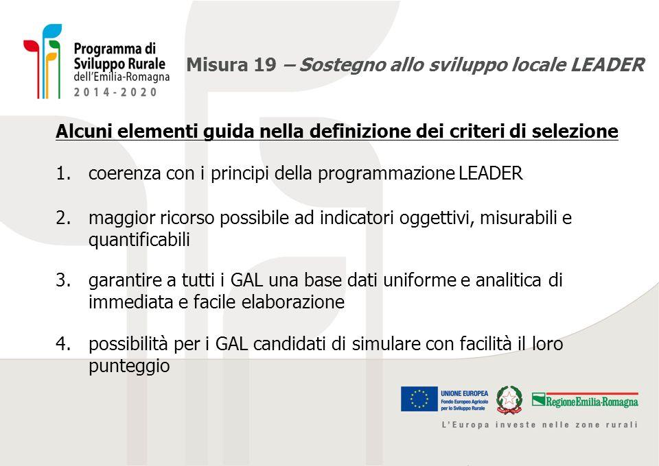 Misura 19 – Sostegno allo sviluppo locale LEADER Alcuni elementi guida nella definizione dei criteri di selezione 1.coerenza con i principi della prog