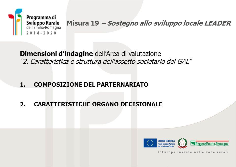 """Misura 19 – Sostegno allo sviluppo locale LEADER Dimensioni d'indagine dell'Area di valutazione """"2. Caratteristica e struttura dell'assetto societario"""