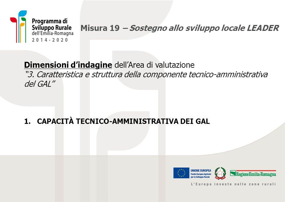 """Misura 19 – Sostegno allo sviluppo locale LEADER Dimensioni d'indagine dell'Area di valutazione """"3. Caratteristica e struttura della componente tecnic"""